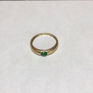 Sweet 14K Gold & Emerald Stone Ring